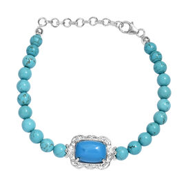 One Time Deal - Blue Howlite (Cush 6.50 Ct) Bracelet (Size 7 with 1.5 Inch Extender) in Sterling Sil