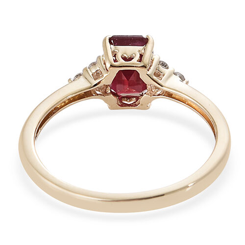 9K Yellow Gold African Ruby (Oct) Diamond Ring 1.600 Ct.