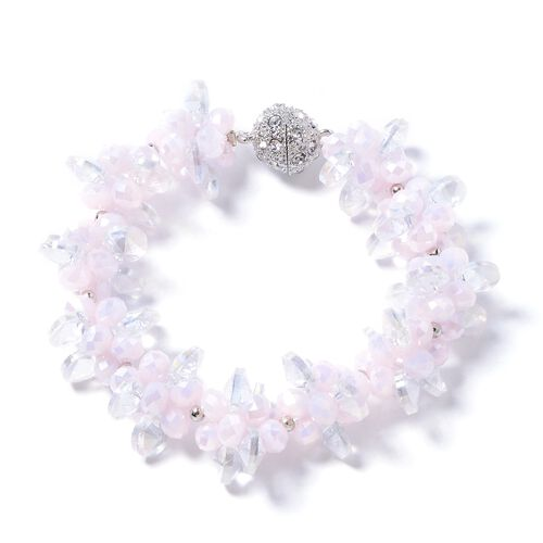 Set of 2 - Rose Quartz, Simulated Pink Sapphire, Simulated Diamond, White Austrain Crystal and Multi Colour Beads Necklace (Size 18) and Bracelet (Size 8)
