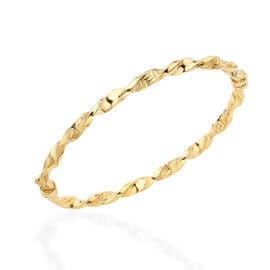 LIMITED EDITION -  Close Out Deal- 9K Yellow Gold Twisted Greek Key Bangle (Size 7.5), Gold Wt. 4.40