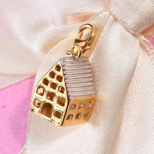 Platinum and Yellow Gold Overlay Sterling Silver House Charm