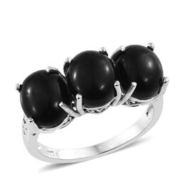 Shungite (Ovl) Trilogy Ring in Platinum Overlay Sterling Silver 6.750 Ct.