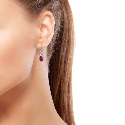 African Ruby (Pear) Lever Back Earrings in Platinum Overlay Sterling Silver 3.250 Ct.