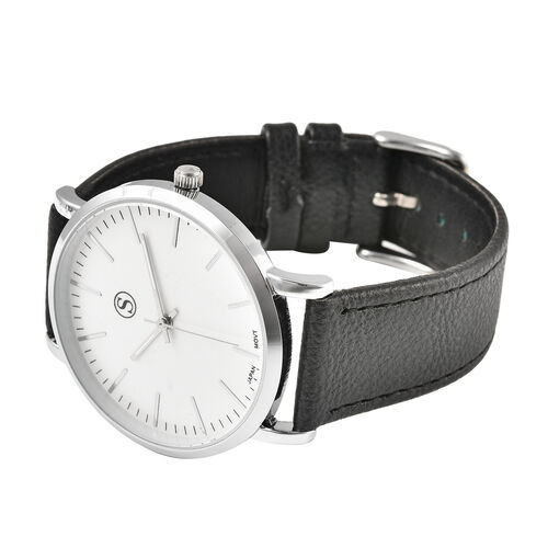 Personalise Engravable STRADA Japanese Movement Watch with Silver Tone and Black Strap