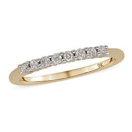 9K Yellow Gold White Diamond Ring 0.20 Ct