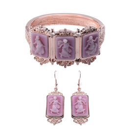 2 Piece Set -  Cameo Bangle and Hook Earrings in Rose Gold Tone