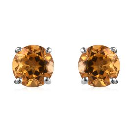 Citrine (Rnd) Stud Earrings (with Push Back) in Platinum Overlay Sterling Silver 1.50 Ct.
