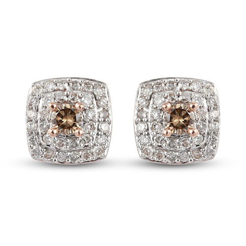 9K Rose Gold SGL Certified White and Champagne Diamond (I3/G-H) Stud Earrings (with Push Back) 0.50
