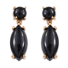 Thai Black Spinel (16.40 Ct) 14K Gold Overlay Sterling Silver Earring  17.250  Ct.