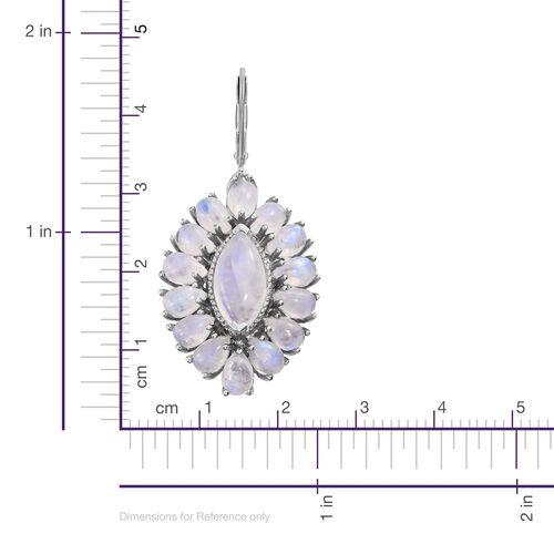 Sri Lankan Rainbow Moonstone (Mrq) Drop Lever Back Earrings in Platinum Overlay Sterling Silver 23.750 Ct. Silver wt 8.46 Gms.