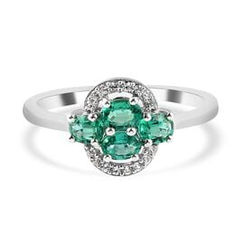 Emerald and Natural Cambodian Zircon Ring in Platinum Overlay Sterling Silver