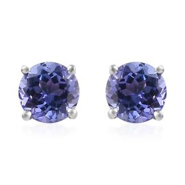 9K White Gold AA Tanzanite (Rnd) Stud Earrings (with Push Back) 1.00 Ct.