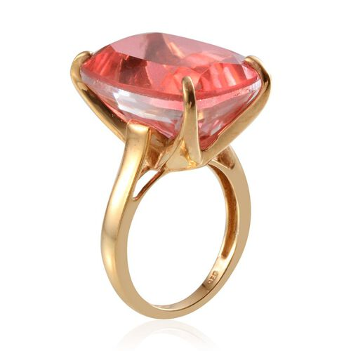 Padparadscha Colour Quartz (Cush) Solitaire Ring in 14K Gold Overlay Sterling Silver 22.000 Ct.