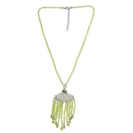 Hebei Peridot Necklace (Size 18 with 2 inch Extender) in Platinum Overlay Sterling Silver 127.50 Ct,