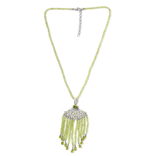 127.50 Ct Hebei Peridot Lariat Necklace in Platinum Plated Sterling Silver 18 with 2 inch Extender