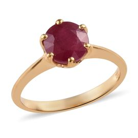 African Ruby Solitaire Ring in 14K Gold Overlay Sterling Silver 2.25 Ct.