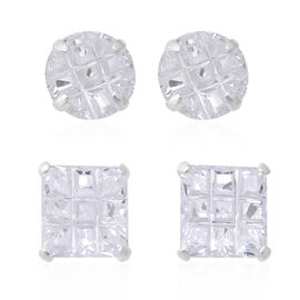 ELANZA 2 Piece Set Simulated Diamond Stud Earrings in Sterling Silver