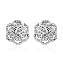 Diamond (Rnd) Floral Stud Earrings (with Push Back) in Platinum Overlay Sterling Silver 0.100 Ct.