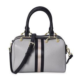 100% Genuine Leather Light Grey Colour Litchi Pattern Tote Bag (Size 22x11x15 Cm) with Detachable Sh