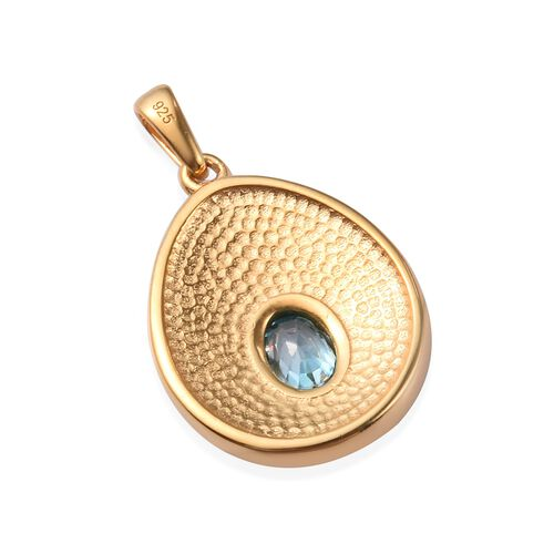 Ratanakiri Blue Zircon Enamelled Pendant in 14K Gold Overlay Sterling Silver 1.25 Ct.