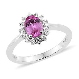 WEBEX- Rhapsody Madagascar AAAA Pink Sapphire (Ovl) and Diamond (VS/E-F) 950 Platinum Ring  1.000 Ct