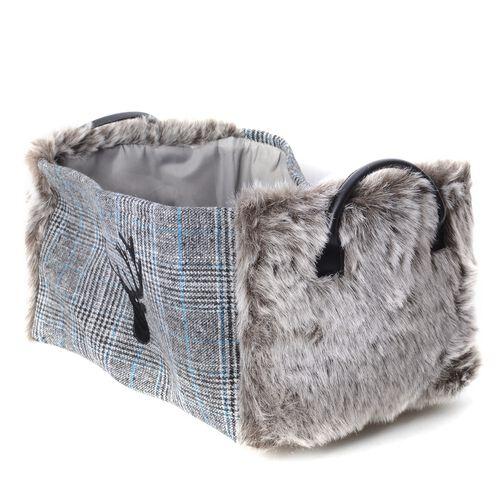 Set of 2 - Plaid Pattern Storage Basket  with Faux Fur -  Grey Colour