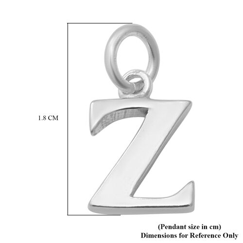 Thai Sterling Silver - Rhodium Overlay Sterling Silver Z Initial Pendant