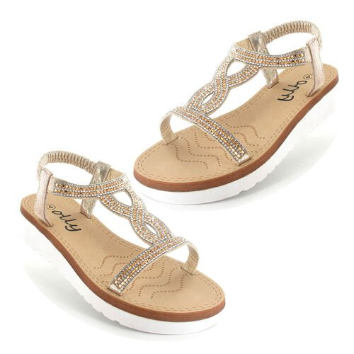 OLLY Belle Toe Post Low Wedge Sandal (Size 4) - Gold