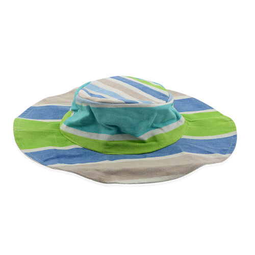 100% Cotton Off White, Green and Multi Colour Stripe Pattern Apparel (Free Size), Cap (Size 36x34 Cm) and Flamingo Pattern Jute Handbag (Size 48x40x34x15 Cm)