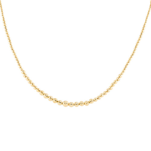 Italian Made - 9K Yellow Gold Diamond Cut Bead Necklace (Size 18 with 2 Inch Extender), Gold wt 8.76
