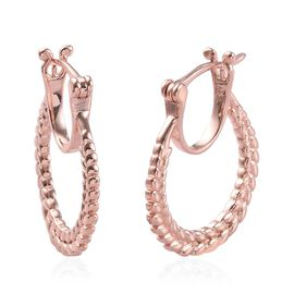 Leaf Hoop Earrings in Rose Gold Plated Sterling Silver
