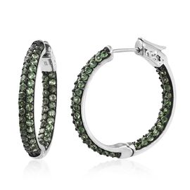 Limited Edition - Very Rare Tsavorite Garnet (Rnd) Hoop Earrings (with Clasp) in Platinum Overlay St