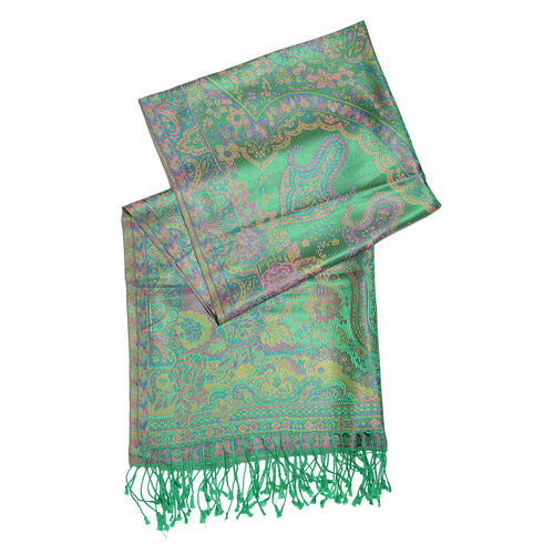 SILK MARK- 100% Superfine Silk Green and Multi Colour Jacquard Jamawar Scarf with Fringes (Size 190x70 Cm)