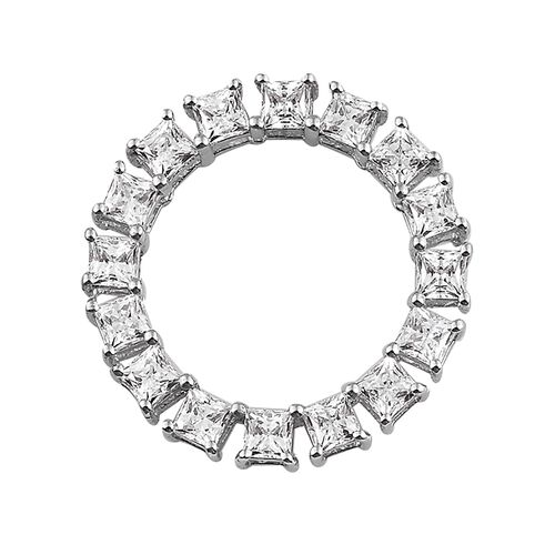 J Francis - Platinum Overlay Sterling Silver (Sqr) Circle of Life Pendant Made with SWAROVSKI ZIRCONIA