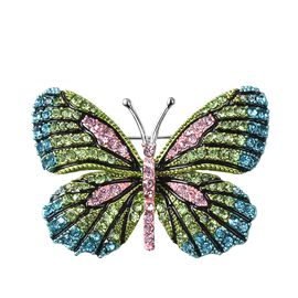 Multicolour Austrain Crystal (Rnd) Enamelled Butterfly Brooch in Silver Tone