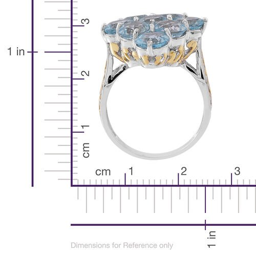 Sky Blue Topaz (Rnd) Ring in Rhodium Plated Sterling Silver 13.000 Ct. Silver wt 7.25 Gms.