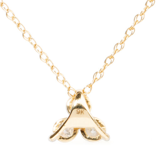 9K Yellow Gold SGL Certified Diamond (Rnd), (I3/G-H) Trilogy Pendant With Chain (Size 18) 0.500 Ct.