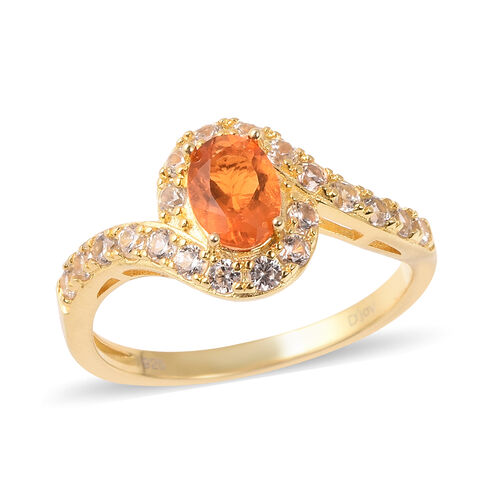 1.75 Ct Jalisco Fire Opal and Zircon Bypass Halo Ring in Gold Plated Sterling Silver