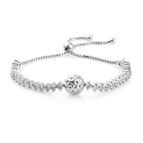 GP Diamond (Rnd), Kanchanaburi Blue Sapphire Bracelet (Size 7.5) in Platinum Overlay Sterling Silver