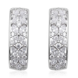 ELANZA Simulated Diamond Earrings (with Clasp) in Rhodium Overlay Sterling Silver