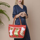 Sock Pattern Tote Bag with Zipper Closure (Size 32x10.5x35 Cm) - Red