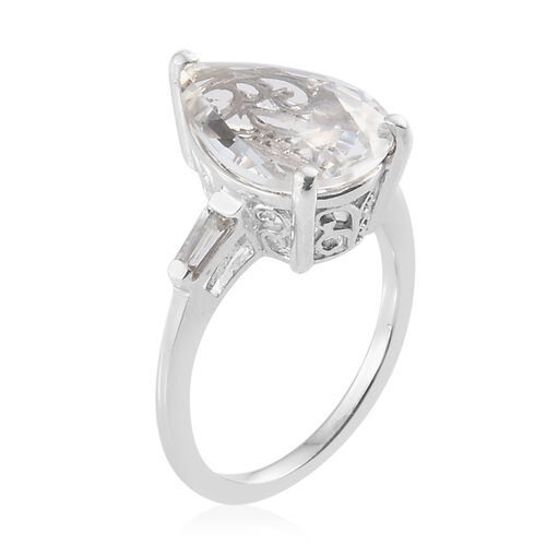 Extremely Rare-Petalite (Pear 4.00 Ct), Natural White Cambodian Zircon Ring in Platinum Overlay Sterling Silver 4.250 Ct.