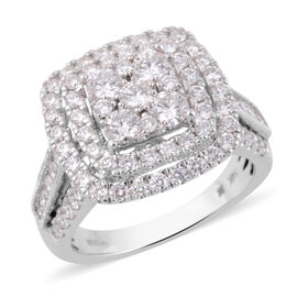 2 Carat Diamond Cluster Ring in 14K White Gold