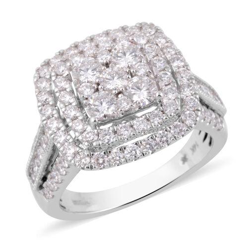 2 Carat Diamond Cluster Ring in 14K White Gold