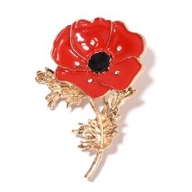 TJC Poppy Design - Austrian Black and White Crystal (Rnd), Flower Brooch with Enameled in Gold Tone