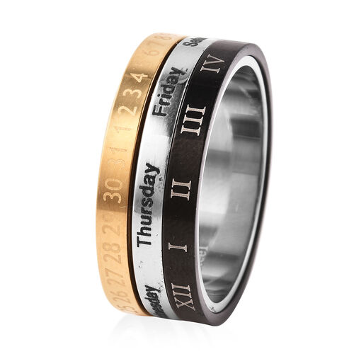 Tricolour Stainless Steel Band Ring
