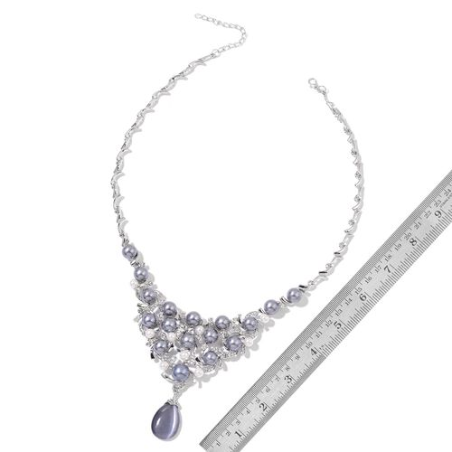 Simulated Grey Cats Eye and White Austrian Crystal BIB Necklace (18 with 3 inch Extender) and Floral Stud Earrings (with Plastic Push Back) in Silver Tone