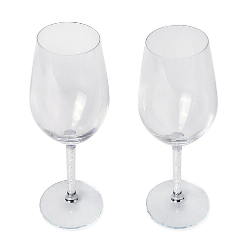 Set of 2 - White Crystal Filled Champagne Glass (Size 24.5X7 Cm)