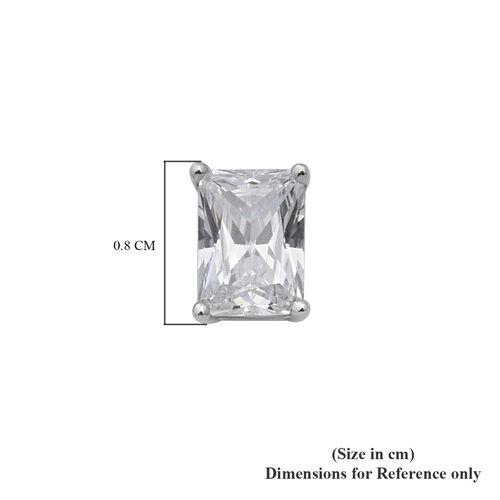 ELANZA Swiss Star Simulated Diamond Solitaire Earrings (with Push Back) in Rhodium Overlay Sterling Silver
