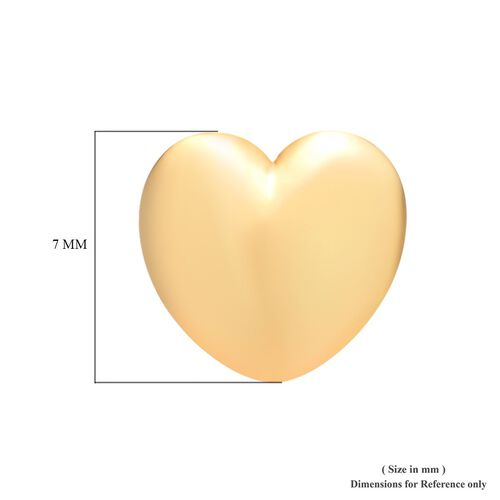 14K Gold Overlay Sterling Silver Heart Stud Earrings (with Push Back)